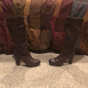 Frye brown leather Mimi Scrunch tall Boots 9.5